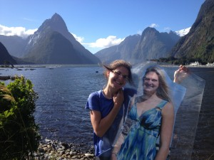 Paper Sis wanted a photo in front of Mitre Peak