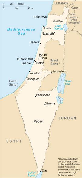 Jordan-Israel map